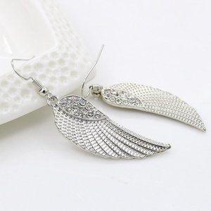 3/$20 New Silver Angel Wing Rhinestone Earrings